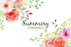 Watercolor Clipart Summery