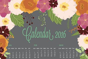 2016 Calendar with floral collection