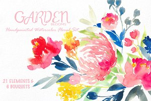 Garden Bloom- Watercolor Floral Set