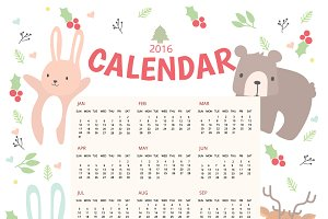 2016 Calendar with Animal collection