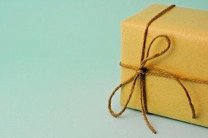 Gift box on aqua