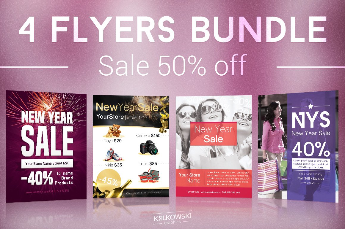 new year sale flyers bundle flyer templates creative market