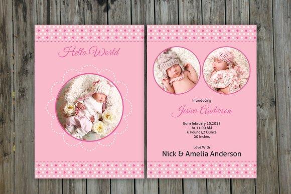 newborn announcement template v05 card templates creative market