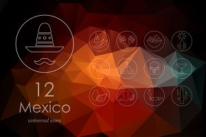 12 Mexico icons