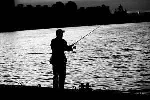 Fisherman black and white