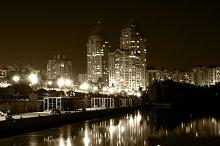 Lights night city vintage filtered