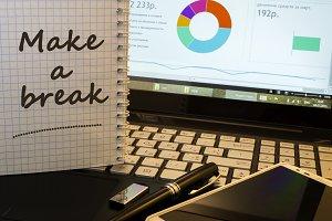 Make a break in notepad