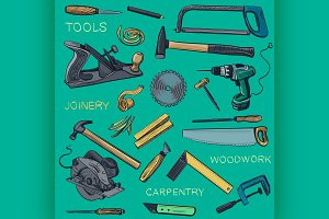 Collection of hand drawn Carpentry