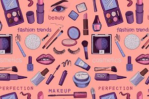 Glamorous make-up seamless pattern