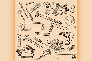 Joinery icons set. Carpenter