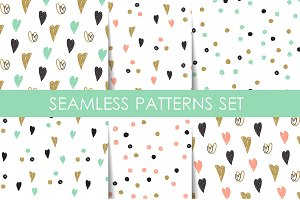 6 retro seamless patterns set