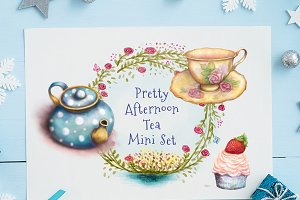 New Year Tea Time Watercolor Clipart