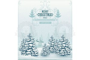 Merry Christmas forest landscape