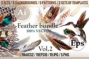 Colorful feathers bundle