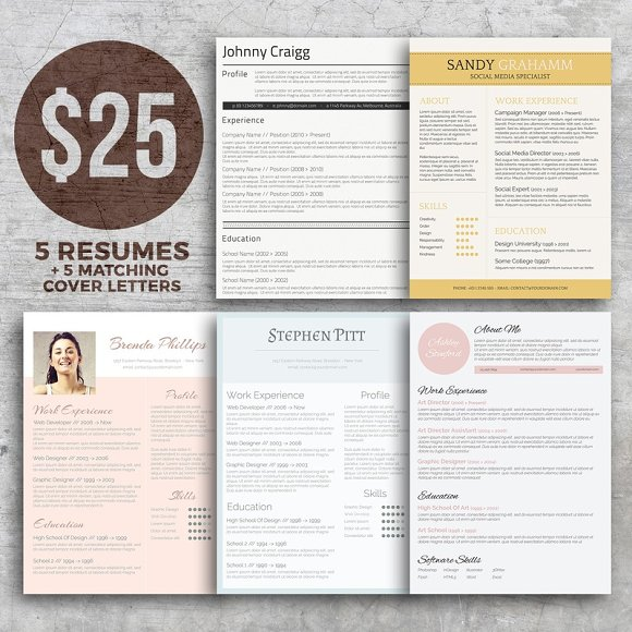 resume bundle get noticed resume templates creative market