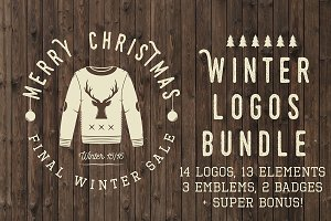 Set of vintage winter logos