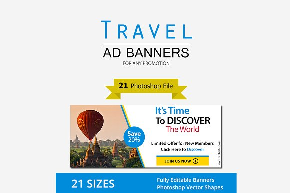 Travel Promotion Banners Photo Cover Facebook Banners