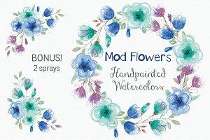 """Watercolor wreath: """"Mod"""" flowers"""