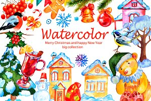 Christmas watercolor big set