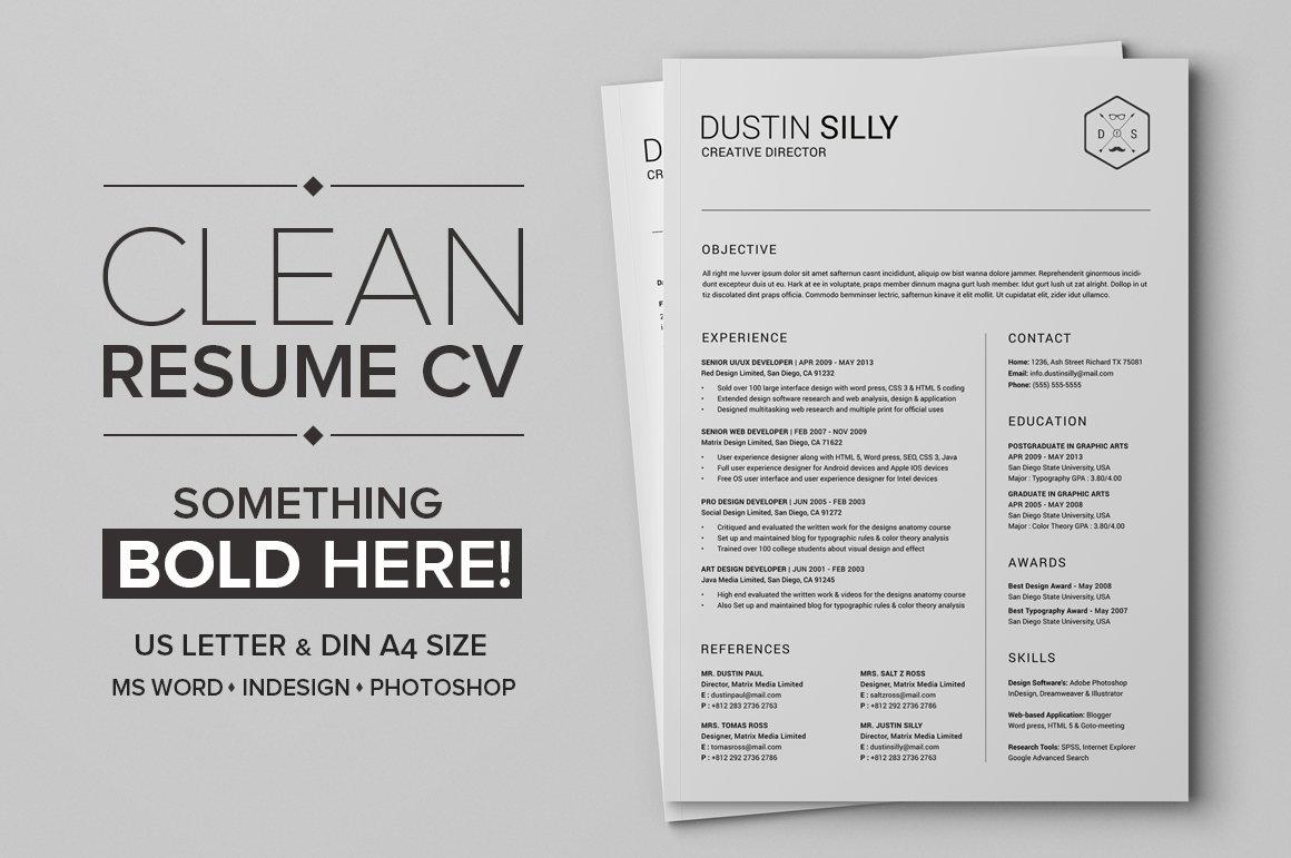 Clean Resume Cv Silly Resume Templates Creative Market - Cv-clean-resume
