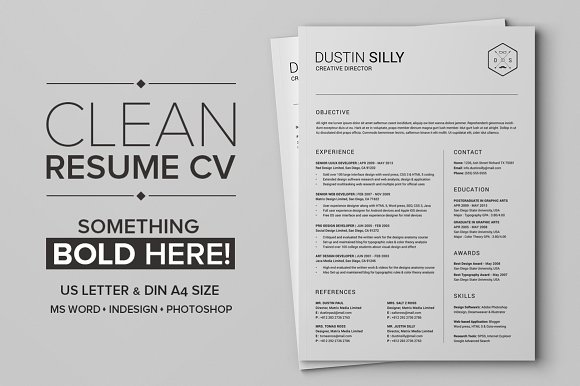 clean resume cv silly resume templates creative market
