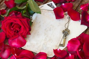 red rose petals and antique gold key