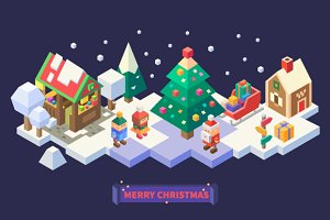 Christmas and New Year Isometric Set
