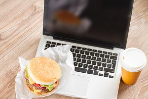 Fast food with laptop