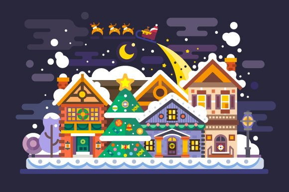 Pretty Xmas Village Landscape. ~ Illustrations ~ Creative Market