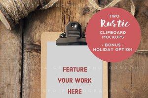 Rustic Clipboard Mockup x2