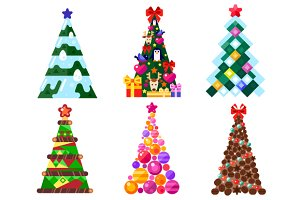 Different Decorated Xmas Trees.