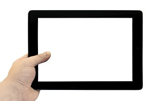 Empty tablet PC in hand isolated