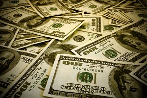 Mount of hundred dollar banknotes