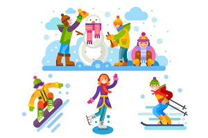 Winter Sporty Characters.