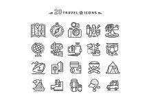 Set of Black Travel Icons