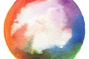 Circle watercolor painted background