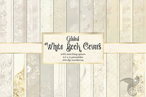 White Gilded Book Covers