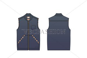 Denim Vest Fashion Flat