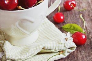 sweet cherry in a mug