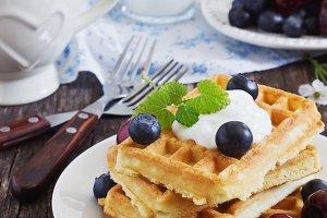 freshly baked sweet waffles