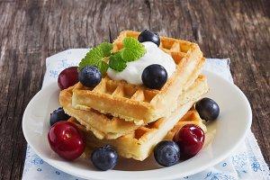 belgian waffles with berries