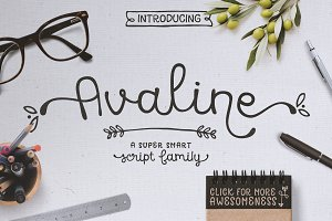 Avaline Script Family + BONUS Extras