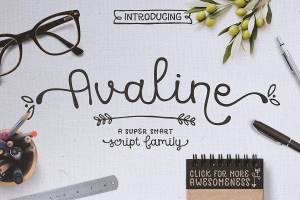 Avaline Script Family + BONUS Extra…