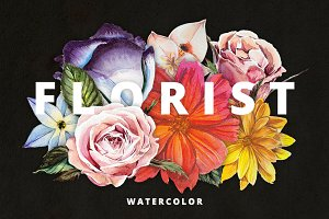 Florist: Watercolor Flowers Set