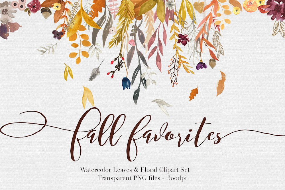 Fall Watercolor Clipart Illustrations Creative Market
