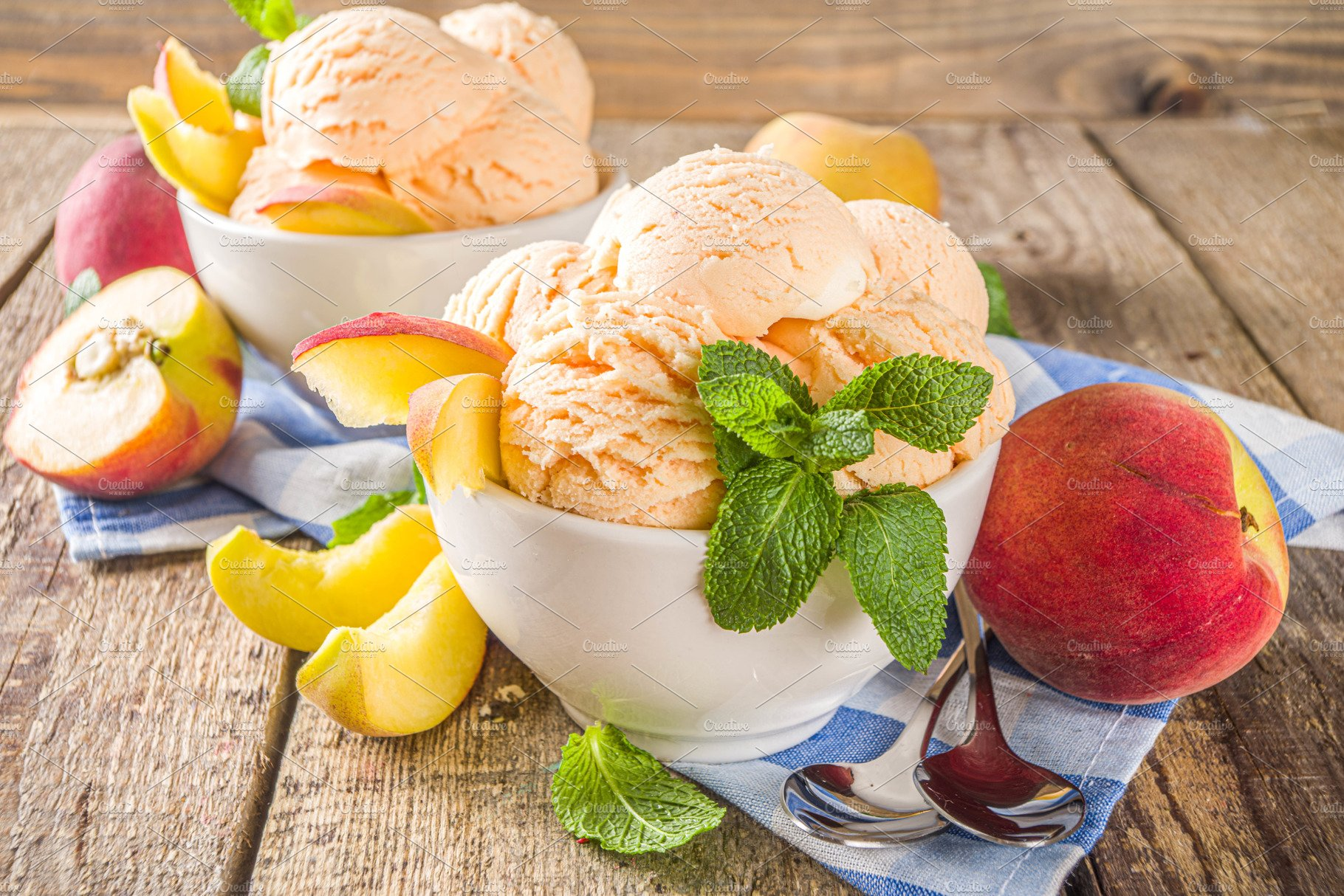 Peach Ice Cream High Quality Stock Photos Creative Market