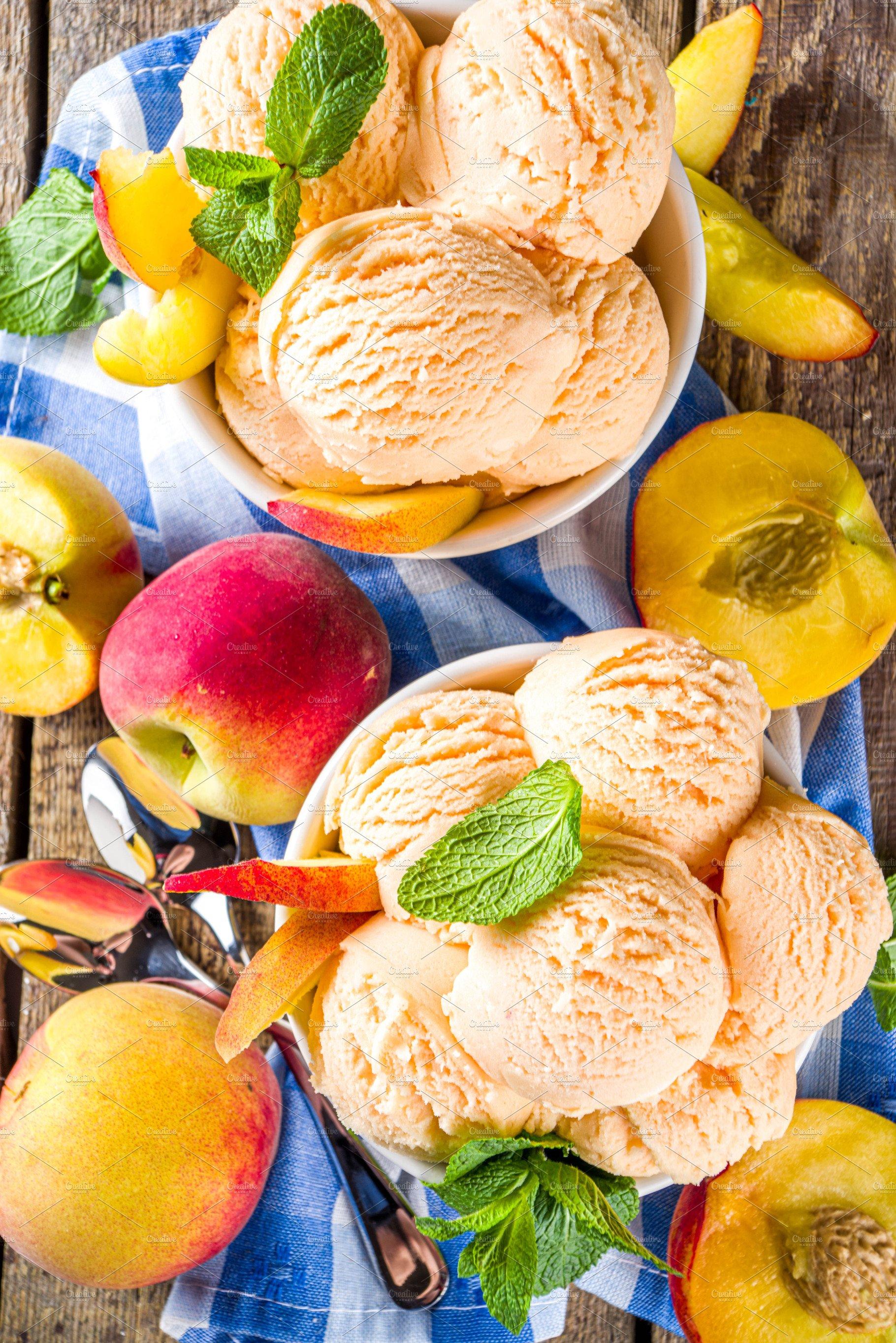 Peach Ice Cream High Quality Stock Photos Creative Market