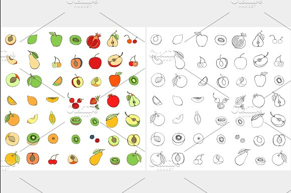 Set of different fruits. Vector - Icons