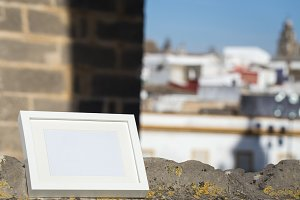 Photo frame with background scenery