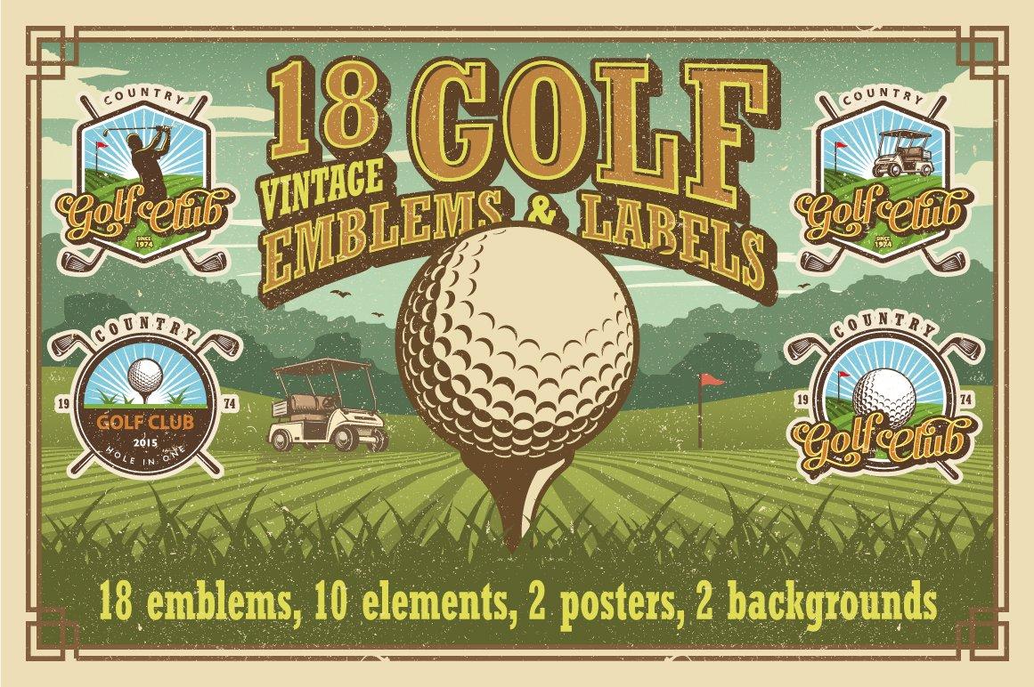 Set Of Vintage Golf Emblems Logo Templates Creative Market